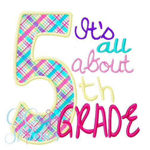 All About 5th Grade Applique Design - pinned by pin4etsy.com