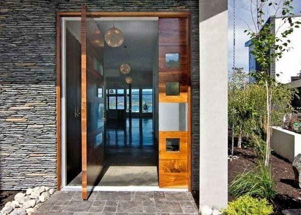 House Entrance modern wooden front door glass elements natural stone facade house