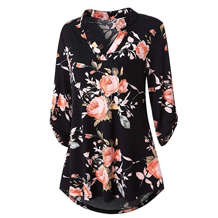 4d88b2376551d Goodtrade8® Womens Floral Printed Tunic Shirts 3 4 Roll Sleeve Notch Neck  Tunic Top Medium