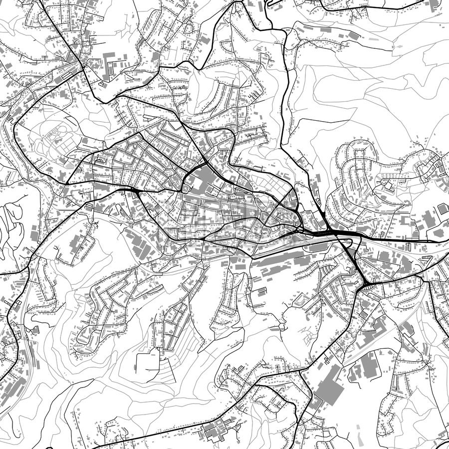 Remscheid Germany vector map with buildings