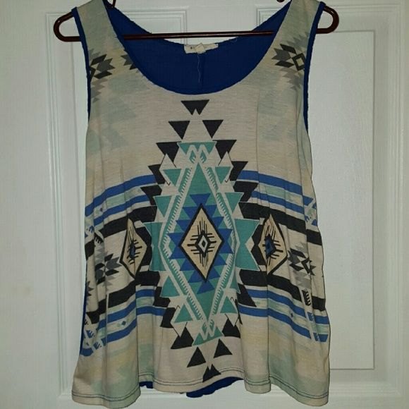 Blue Aztec loose fitting top Cute with jeans. Worn once. Tops Tank Tops