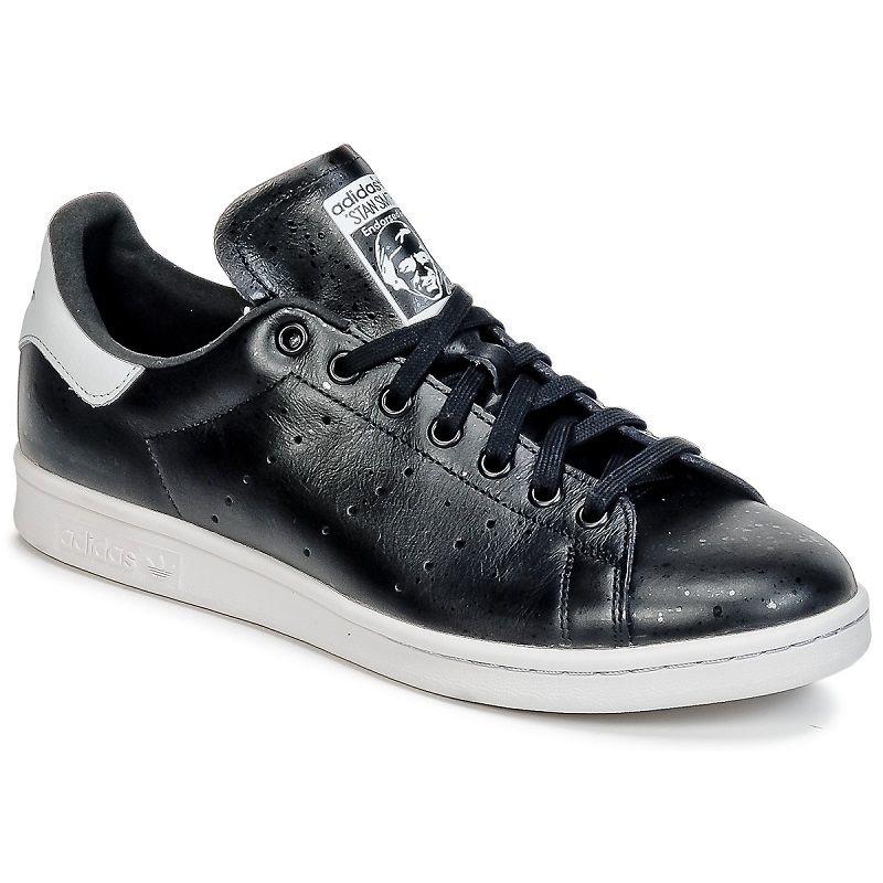 5749ef516d2 Adidas Originals STAN SMITH Noir pas cher prix promo Baskets Adidas Spartoo…