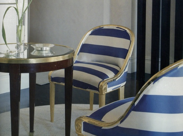 Wide Stripes In Blue U0026 White   On Chairs