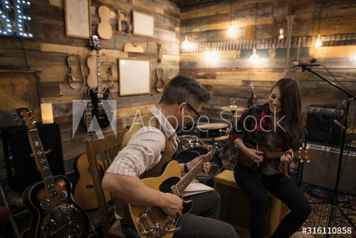 Singer-songwriter musicians playing guitar and ukulele, writing music on stage #Ad , #Sponsored, #musicians, #playing, #Singer, #songwriter, #guitar