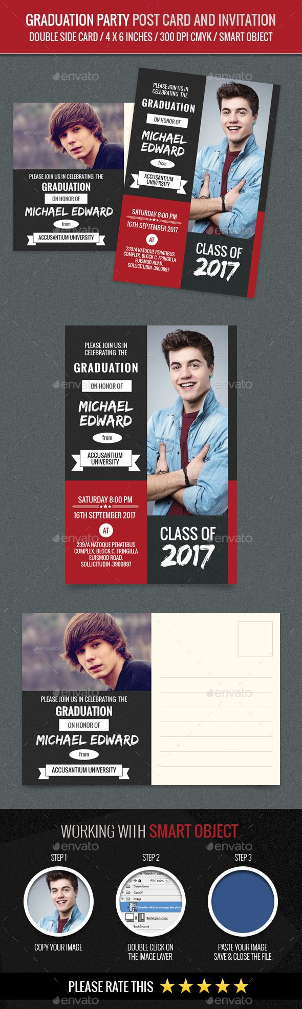 Graduation Party Post Card and Invitation Card Tem | Pinterest ...