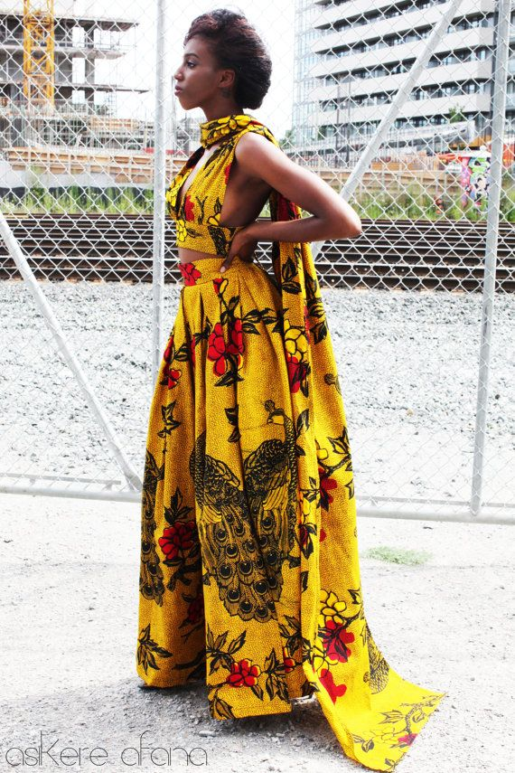 Dashki Fabric African Fashion Ankara Kitenge African: THE NURU Cape Crop Top In Golden Yellow By AsikereAfana On