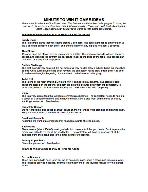 MINUTE TO WIN IT GAME IDEASpdf Kids when they come around - meeting agenda sample in word
