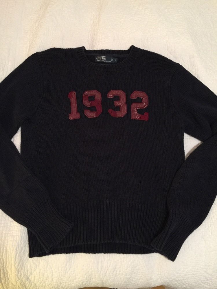 e16c9abe Ralph Lauren 1932 Varsity Sweater Vintage Size Large Sewn On Numbers ...