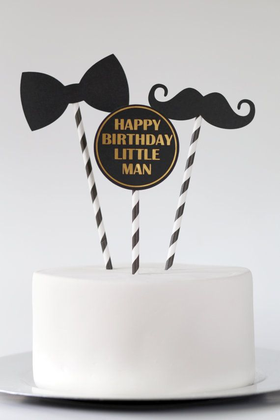 an adorable set of three cake toppers with a little man theme trio includes 1 mustache 1 bowtie and 1 disk with happy birthday little man in