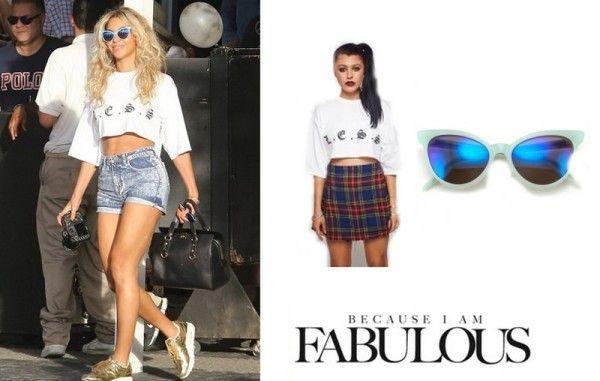Less Clothing Midi Crop Top & Wildfox La Femme Deluxe Sunglasses Miami Beyonce