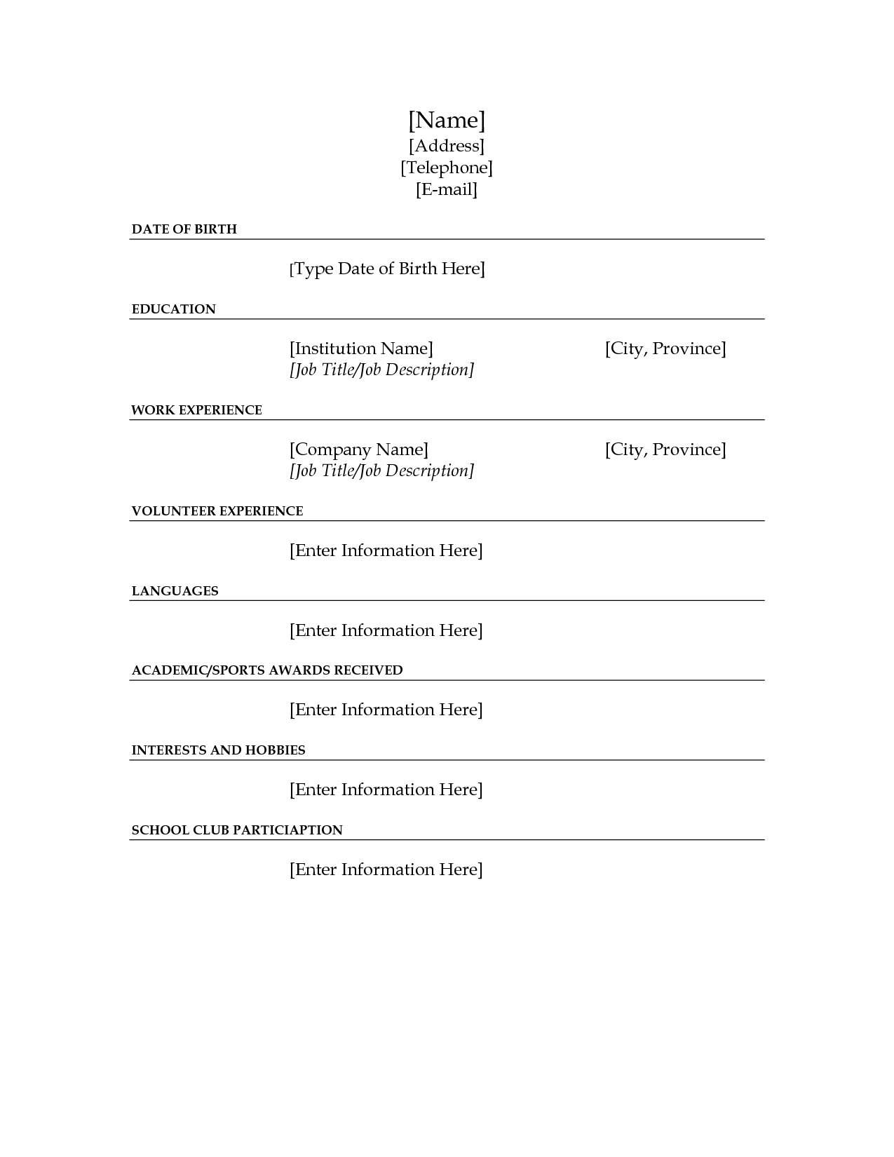 Job Resume Fill Blank scope of work template EYC Lifeskills