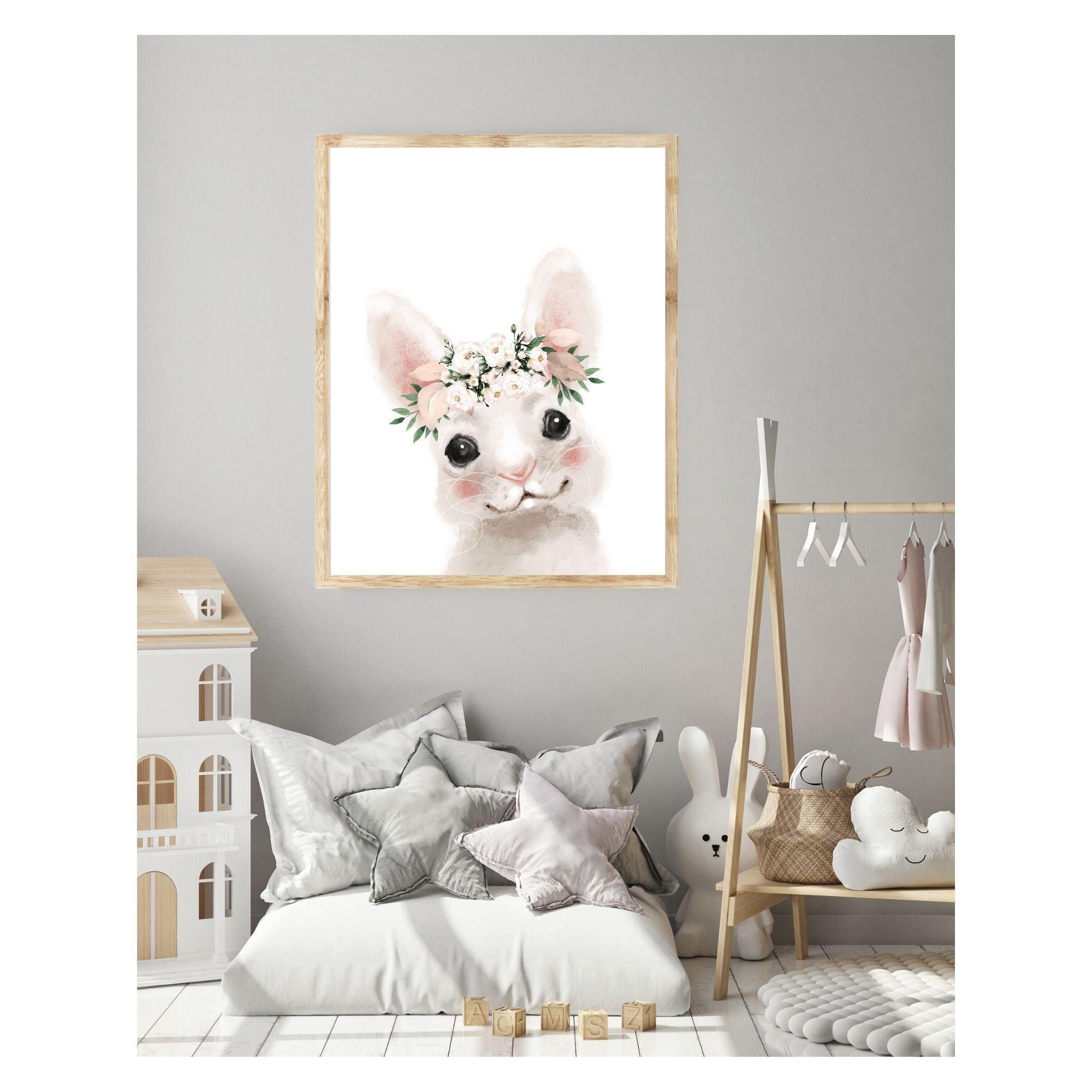Bunny wall art boho nursery decor nursery art girls room