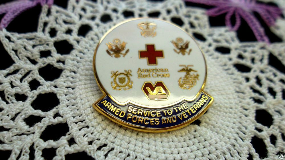 1990 AFES American Red Cross 24K G.P. Armed Forces & Veterans Lapel Pin