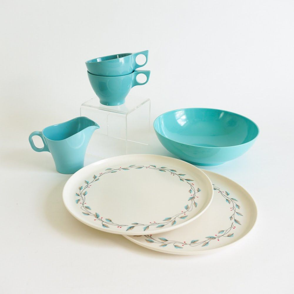 Vintage 1950s Mismatched Turquoise Melamine Dinnerware Set / Spalding Boontonware Kenro Texasware / Retro Mid Century Kitchenware Dining & Vintage 1950s Mismatched Turquoise Melamine Dinnerware Set ...