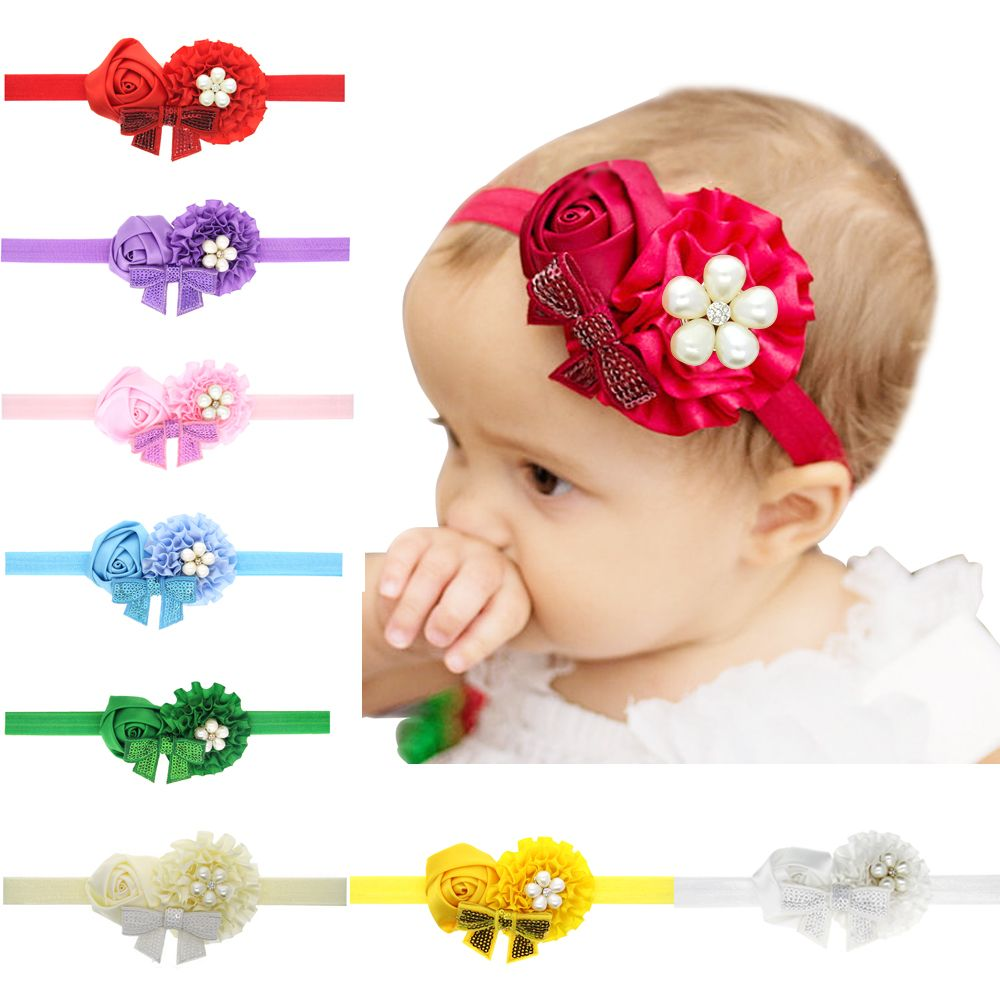 Little Girl Hairband Sequins Bow Elastic Headband Kid Headdress Hair BRCE
