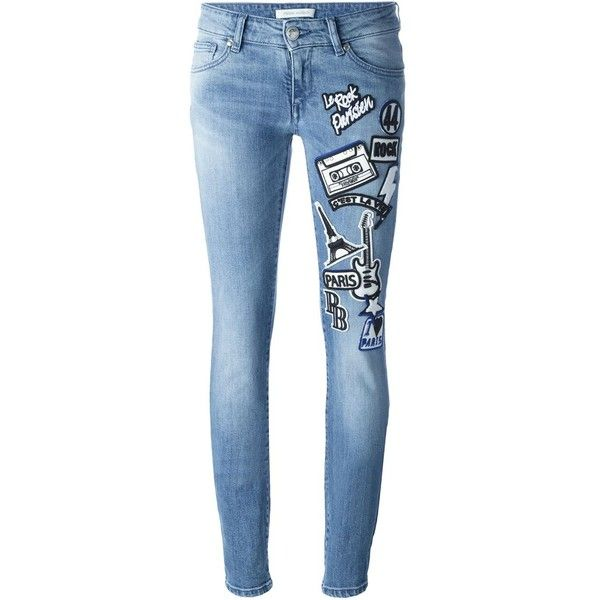 a7ee9685c698a Pierre Balmain Jeans With Stickers ( 740) ❤ liked on Polyvore featuring  jeans