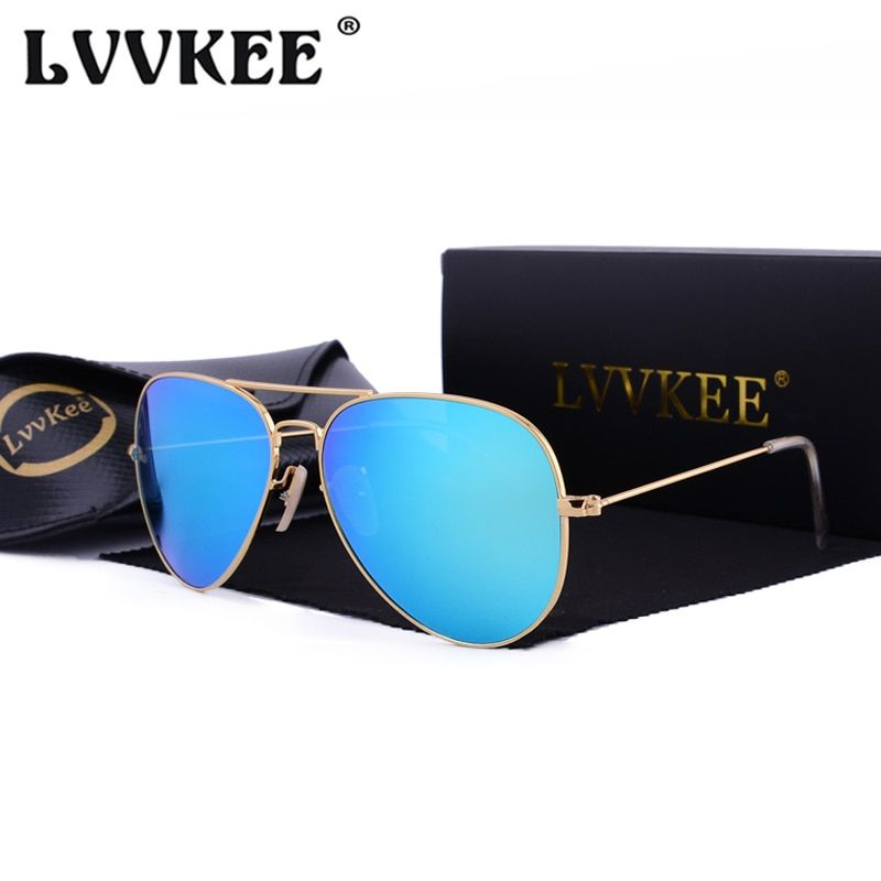 3f2a92bb87 Hot LVVKEE 2018 Classic Mirror Sunglasses Men/Women Colorful Reflective  58mm Tempered glass lens Eyewear Accessories Sun Glasses