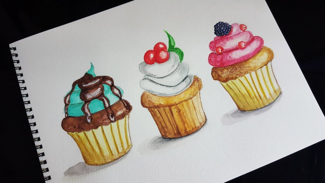 Easy Watercolor Cupcakes Painting How To Paint Cupcakes With