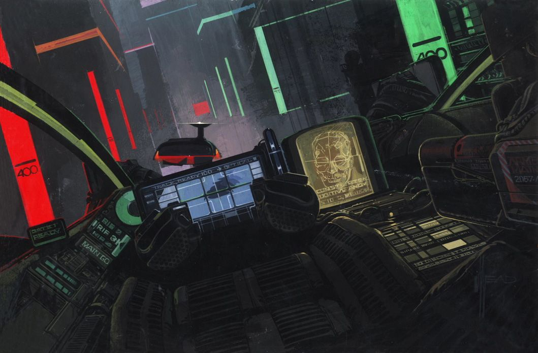 future noir spinner cockpit by syd mead runner of blades isolation of aliens pinterest. Black Bedroom Furniture Sets. Home Design Ideas