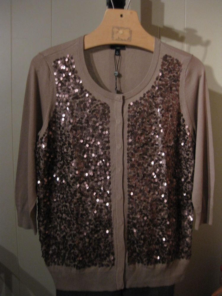 MISSES WASHABLE TAUPE BRONZE SEQUIN SWEATER TALBOTS XS 0 2 $149 ...