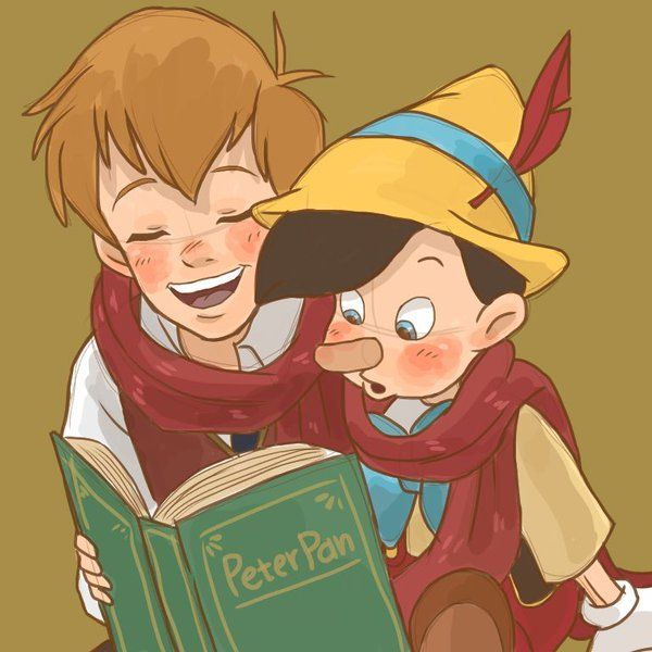 1aabe766 Christopher Robin and Pinocchio reading