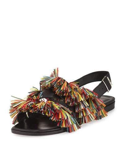 X2ZW5 Manolo Blahnik Cuture Fringe Flat Slingback Sandal, Multicolor/Black