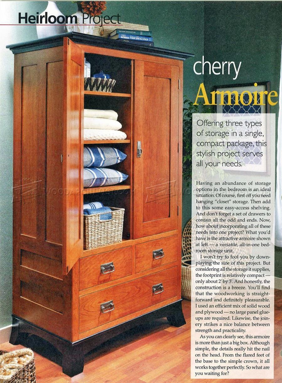 #462 Cherry Armoire Plans   Furniture Plans And Projects