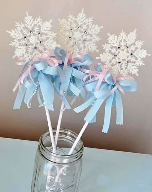 Snowflake wands perfect for a little girls winter birthday for Birthday wand