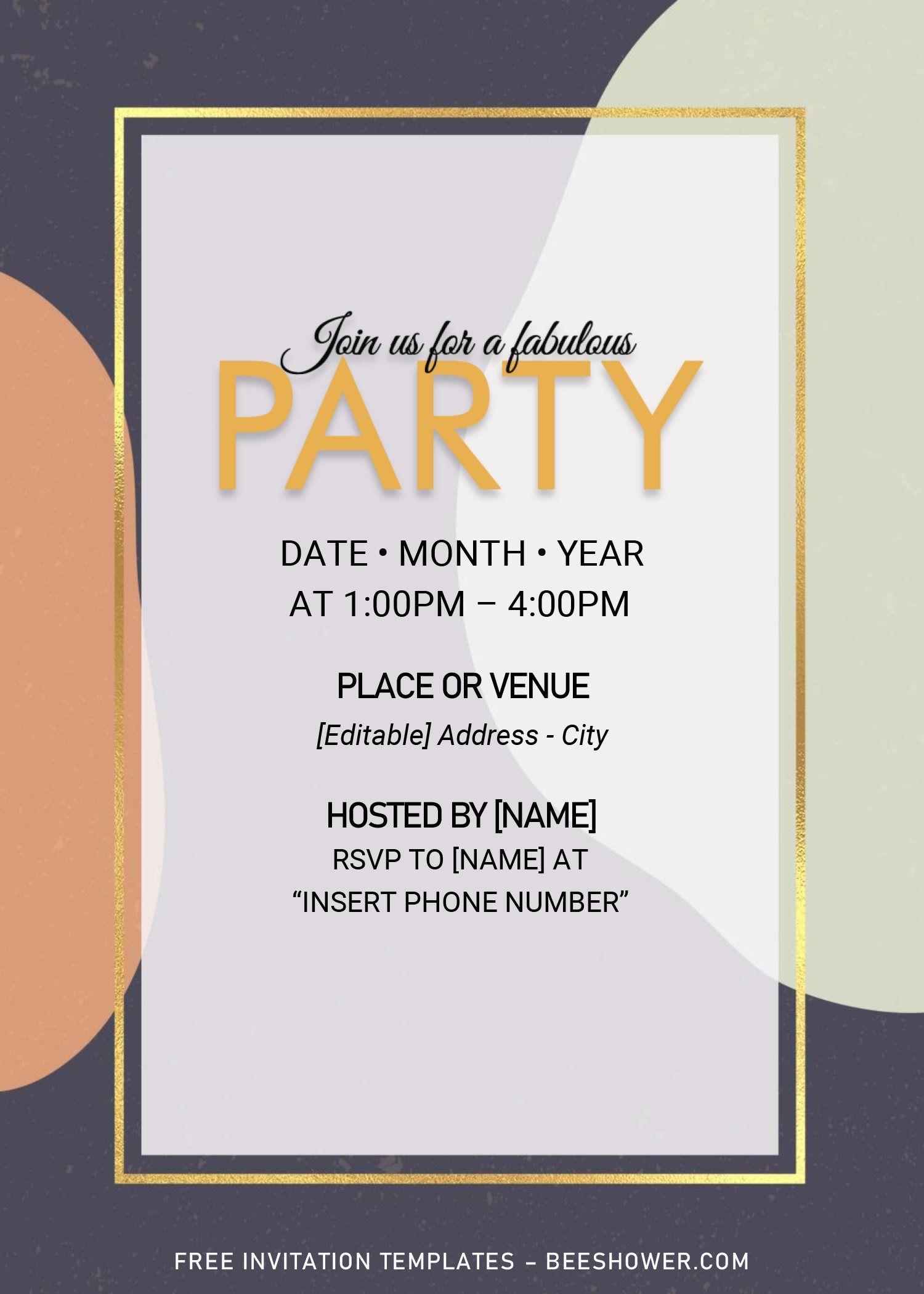 Memphis Birthday Invitation Templates Editable With Microsoft Word Free Printable Baby Shower Invitations Birthday Invitation Templates Invitation Template