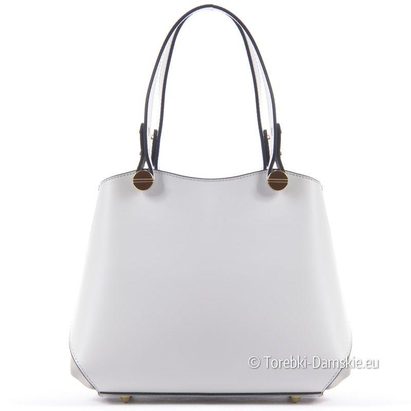 6e6bd9ec1e174 Kuferek produkcji włoskiej - torebka ze skóry naturalnej w kolorze  popielatym (jasny odcień szarego)