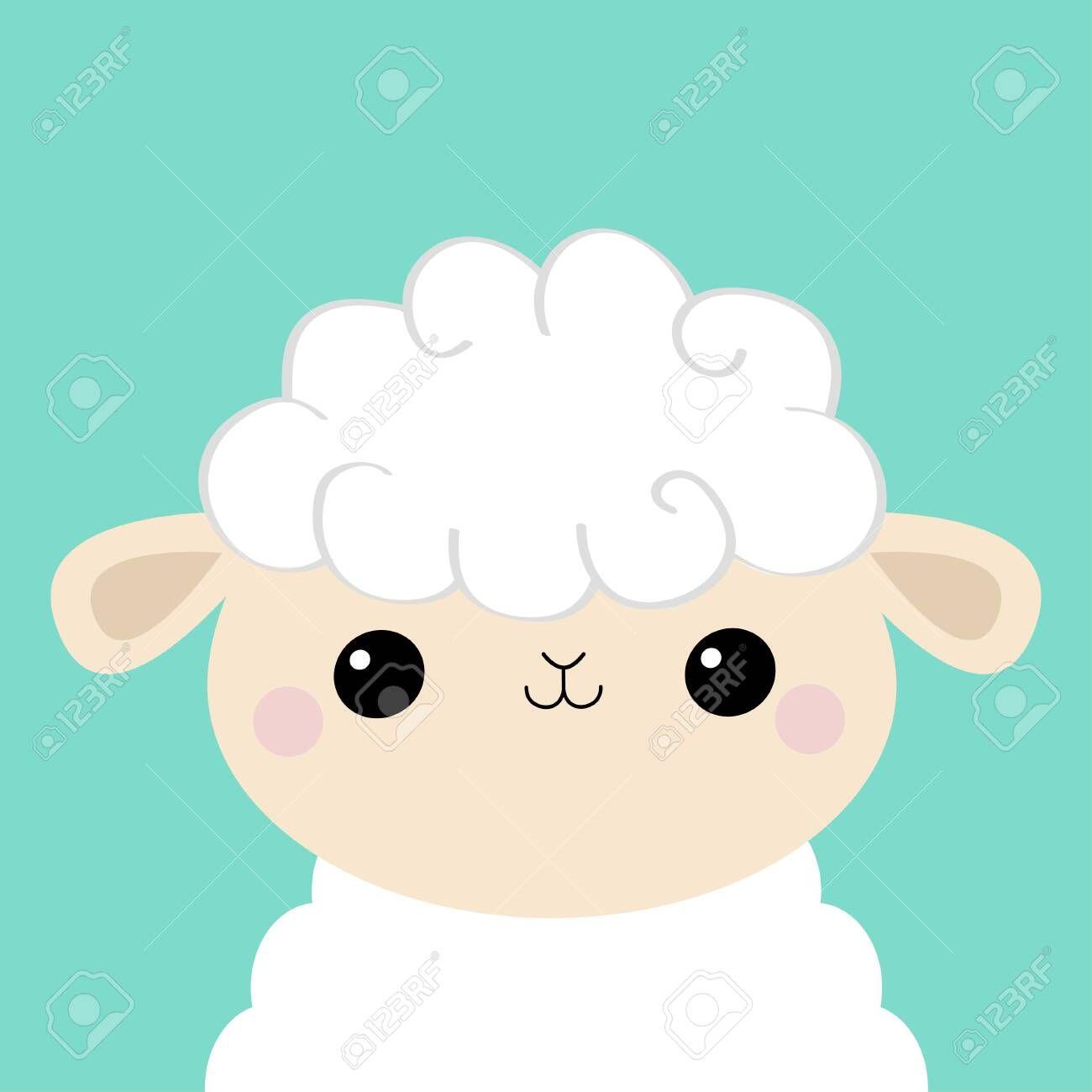 Sheep Lamb Face Head Icon Cloud Shape Cute Cartoon Kawaii Funny Smiling Baby Character Nursery Decoration S Cute Cartoon Sheep And Lamb Vector Illustration