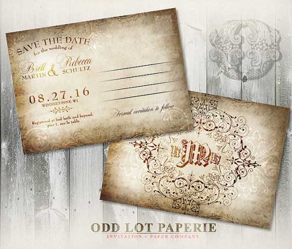 Rustic Old World Save the Date Wedding Postcard - Vintage Wedding - wedding postcard