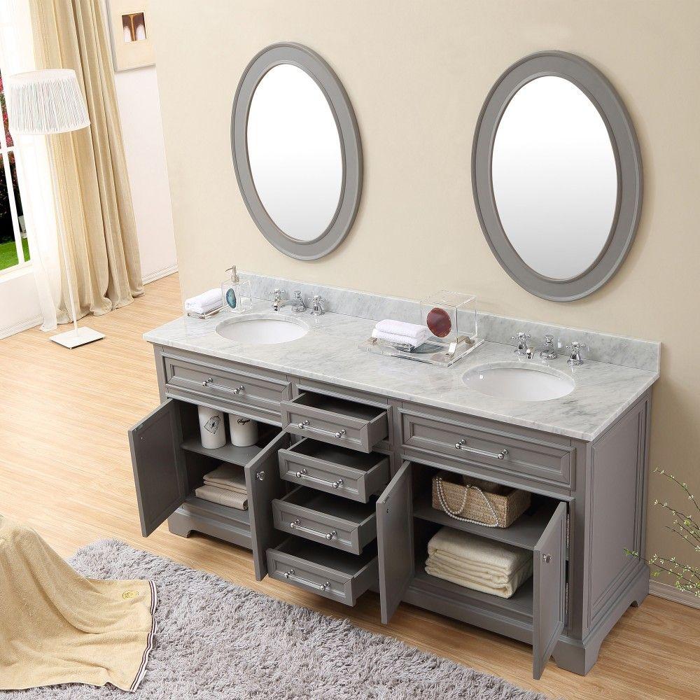 Water Creation Derby 72gf Derby 72 Cashmere Grey Double Sink Bathroom Vanity And Fa Double Vanity Bathroom Small Bathroom Vanities Double Sink Bathroom Vanity