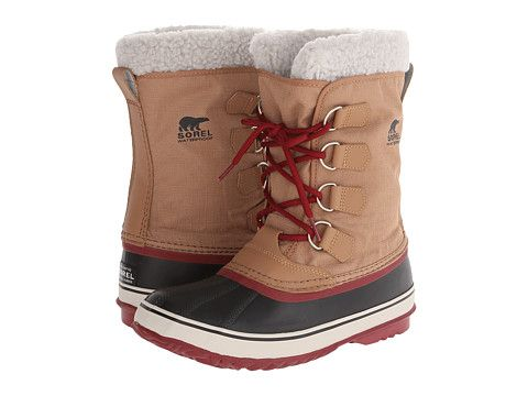 Waterproof (non-leather) winter boots that aren't totally hideous? YES. SOREL Winter Carnival™ Peatmoss/Red Plum - Zappos.com Free Shipping BOTH Ways