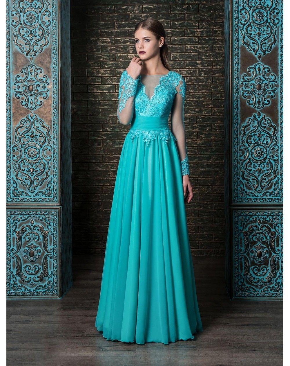 3462d4023200 Dlhé luxusné spoločenské šaty s čipkovaným zvrškom s dlhým rukávom. Padavá  obrovská sukňa zo šifónu
