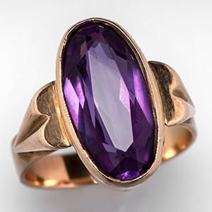 UH-OH. Purple with incandescent light and gray with fluorescent. Vintage Russian Color Change Sapphire Ring 14K Gold - EraGem