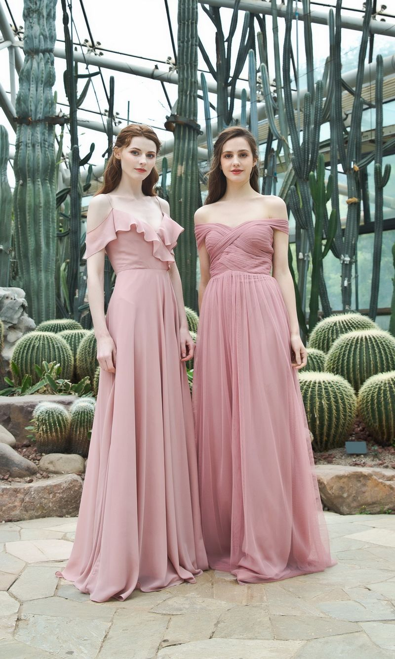 23be2361a0d2c dusty rose bridesmaid dresses in chiffon and tulle  bridesmaiddresses   bridesmaids  bridalparty  wedding  dresses
