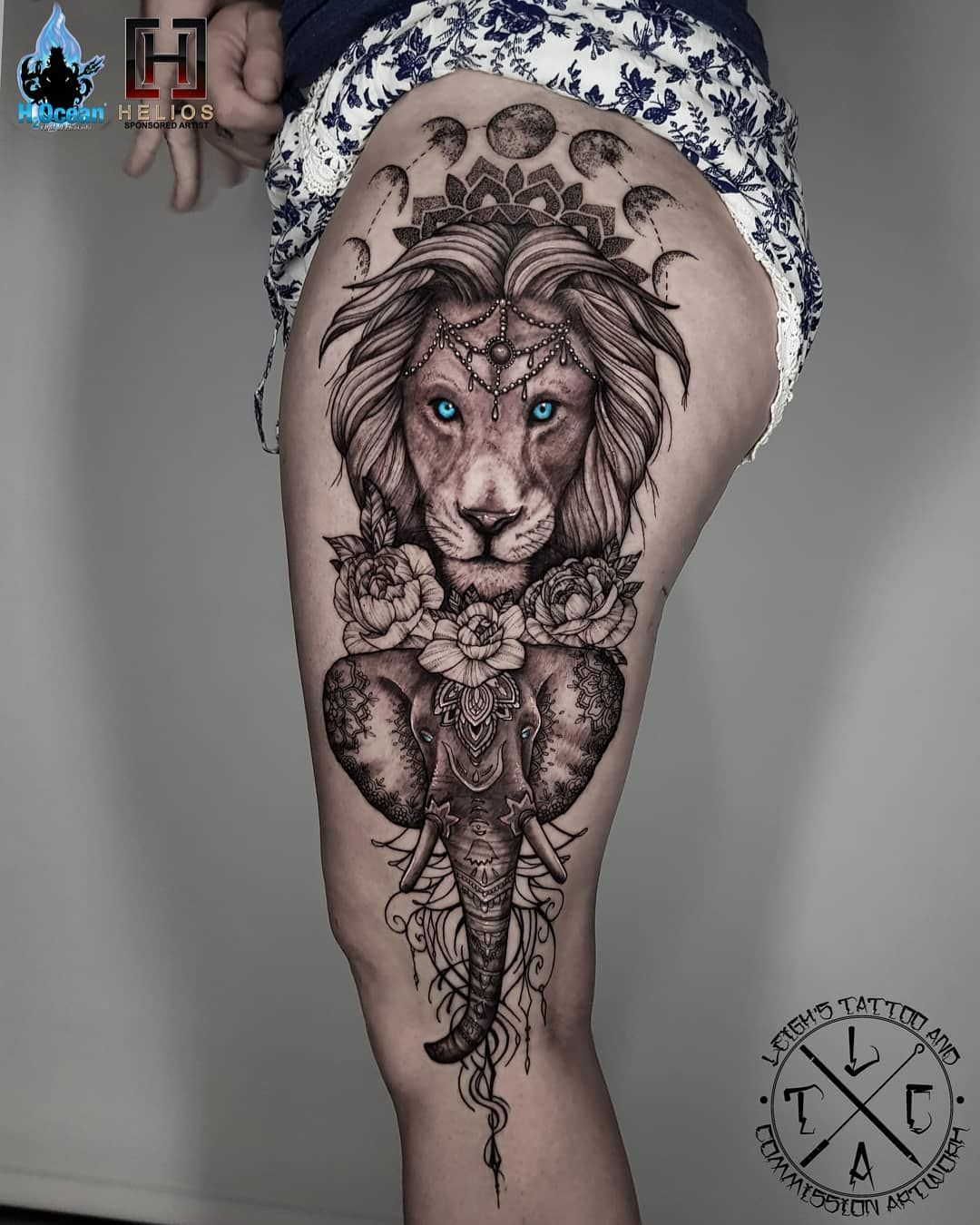 Leighstca Op Instagram Lion And Elephant Thigh Piece Insta Leigh Tattoos Fb Leighstca For All B In 2020 Lion Tattoo Sleeves Elephant Thigh Tattoo Elephant Tattoos