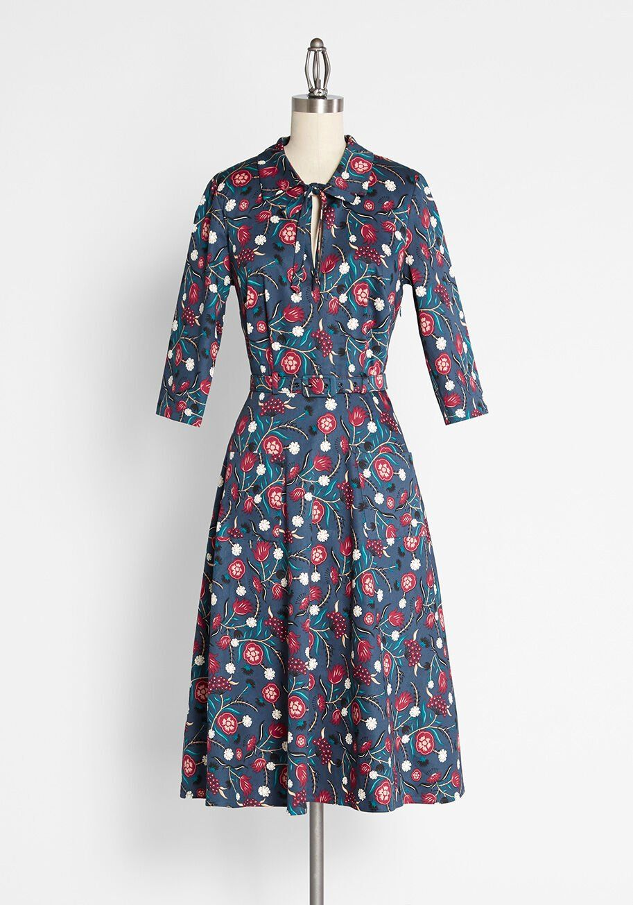 Modcloth X Collectif Little Did You Know Floral A Line Dress Mod And Retro Clothing A Line Dress Mod Cloth Dresses Womens Vintage Dresses [ 1304 x 913 Pixel ]