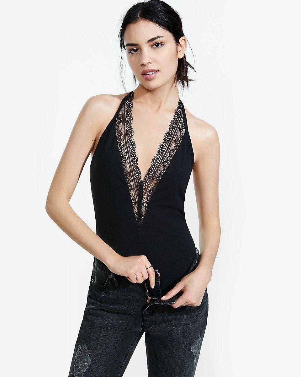 petite express one eleven lace trim thong bodysuit  7719c9c0d