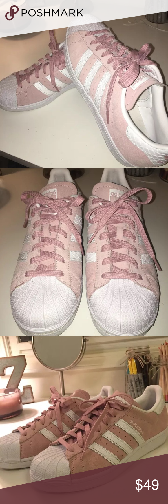 d4ba10917ef Adidas LIMITED EDITION superstar pink suede size 9 Women s size 9 — only  worn 3 times