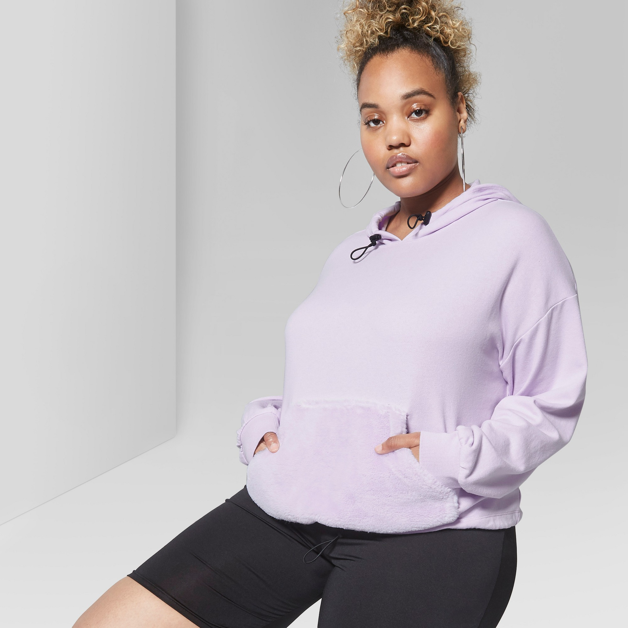 0111fbb796c Women s Plus Size Pullover Hoody with Faux Fur Kanga Pocket - Wild Fable  Purple 3X