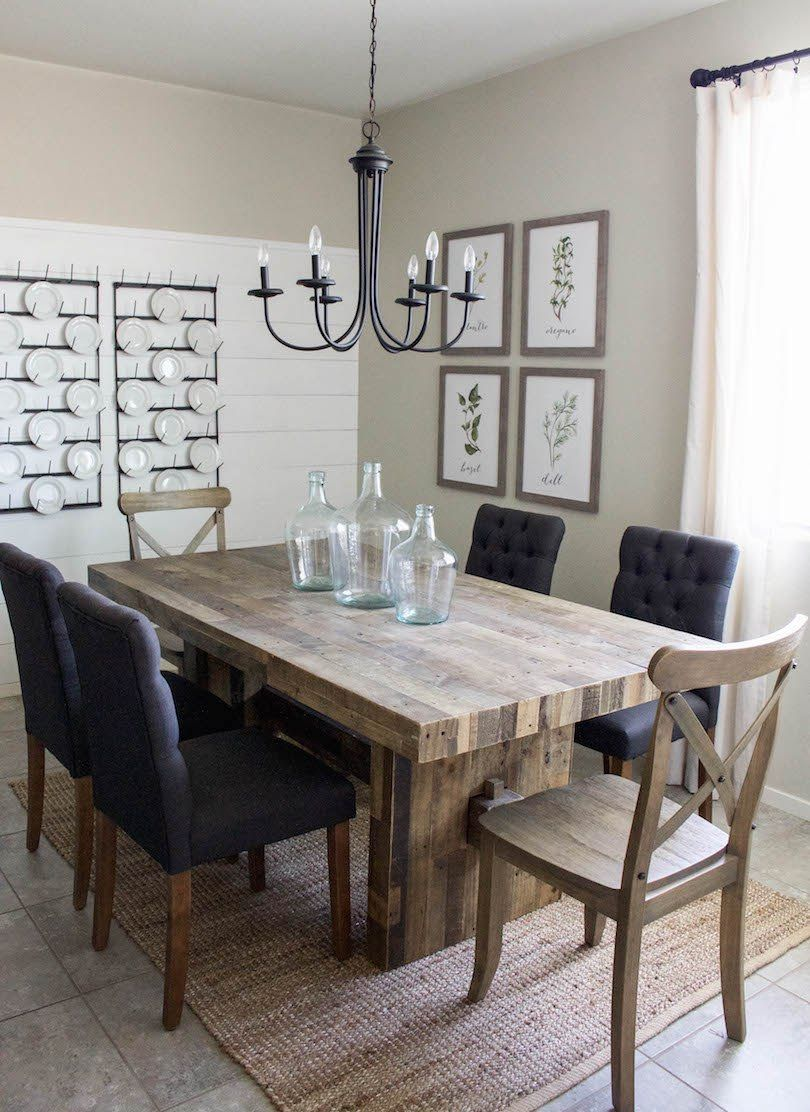Modern farmhouse dining room diy shiplap home sweet for Farmhouse dining room table