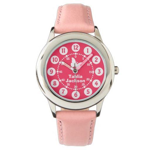 Kids girls pink & white full name wrist watch