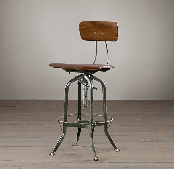 Restoration Hardware Vintage Toledo Bar Chair Antiqued Green Need This To Go With My Drawing Table
