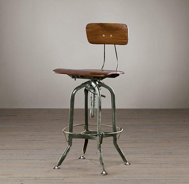 Restoration Hardware Vintage Toledo Bar Chair Antiqued