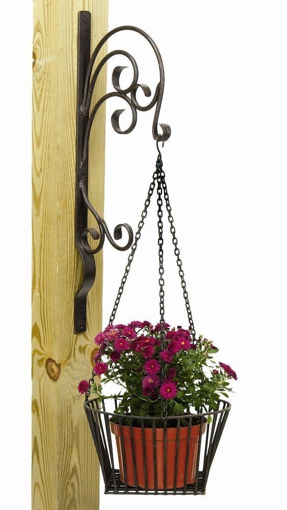 Flower Basket Hanging Brackets : Wrought iron potted flowers wall hanger planter holder