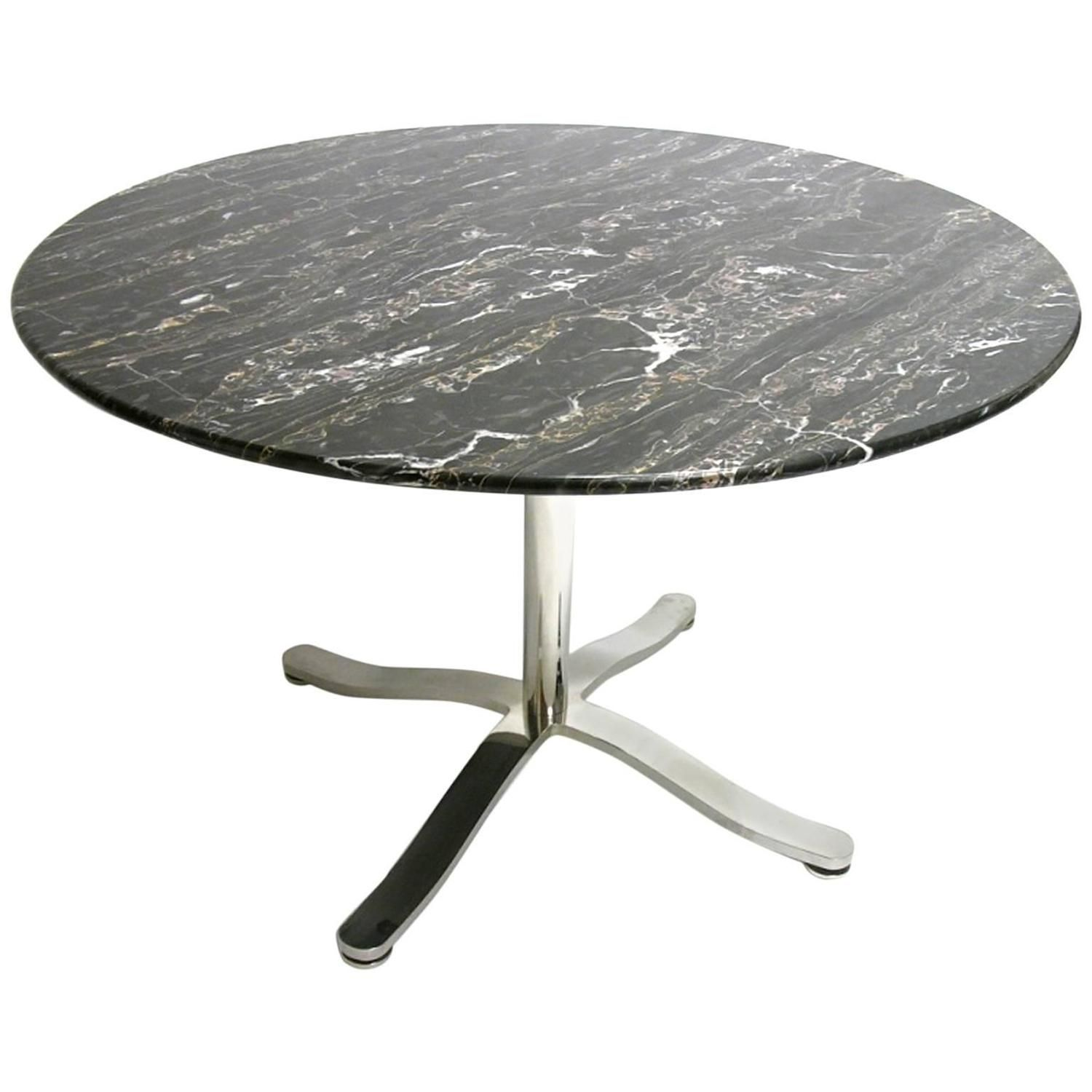 Nicos Zographos Alpha Pedestal Table With Stunning Black Marble Top From A Unique Collection Of Antique And Modern Pedestal Table Marble Top Table Furniture