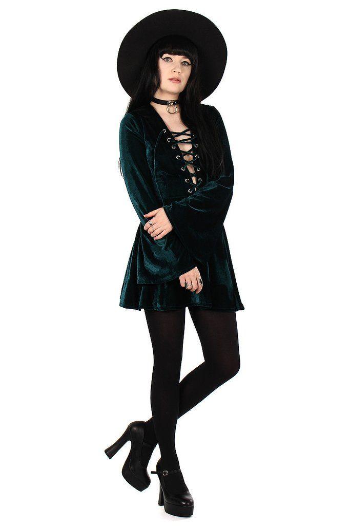 Sabbath Lace Up Velvet Bell Sleeve Mini Dress - Emerald