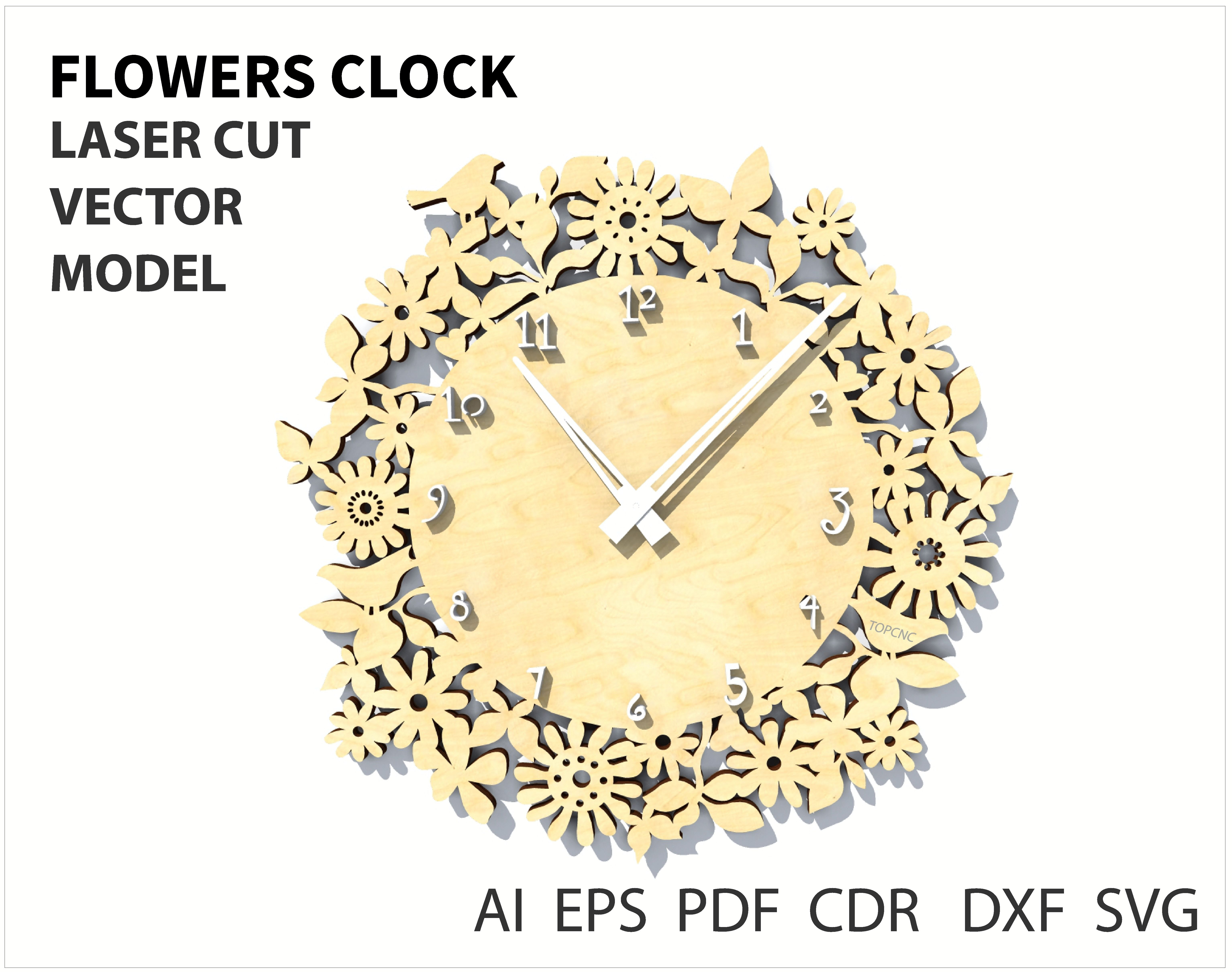 Flowers Wall clock Vector file for laser cutting CNC Wooden